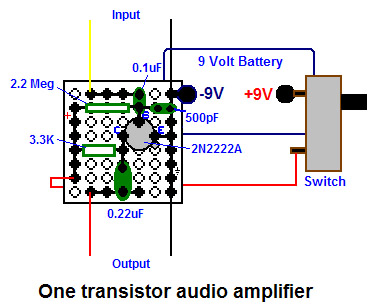 Poor Mans Electronics Web Page One Transistor Audio Amplifier