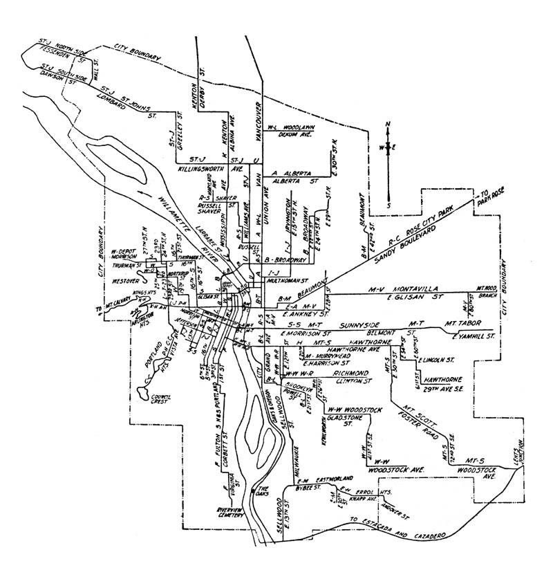 Street Railway Map Of Portland 1904